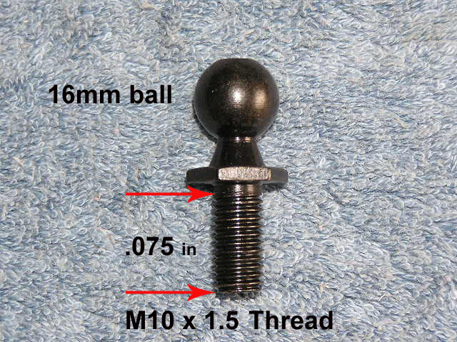 rv black gas spring strut shock 16mm ball stud mount lid bracket m10 x 1 5